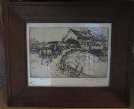 Block print lithograph by Frederick Robbins